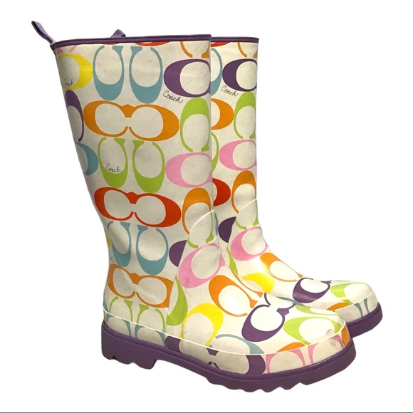 Coach Shoes - Coach Pastel Multi Signature Rain Boots